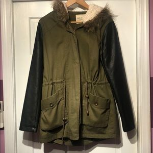 Army Green Jacket w/ Faux Leather Sleeves